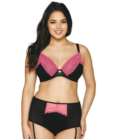 Curvy Kate In Love With Lace High Waist Suspender Brief - Black/Pink