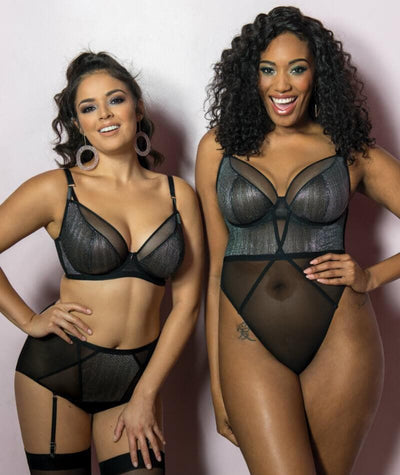 Curvy Kate Sparks Fly High Waist Suspender Brief - Black/Silver Knickers