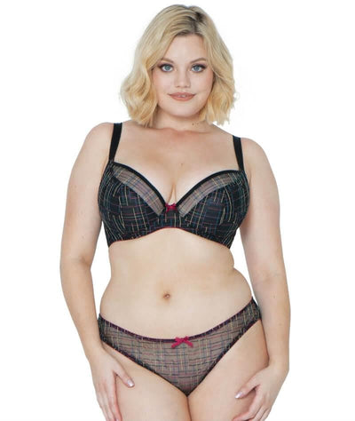 Curvy Kate Check Me Out Balcony Bra - Black/Multi - Model - Front