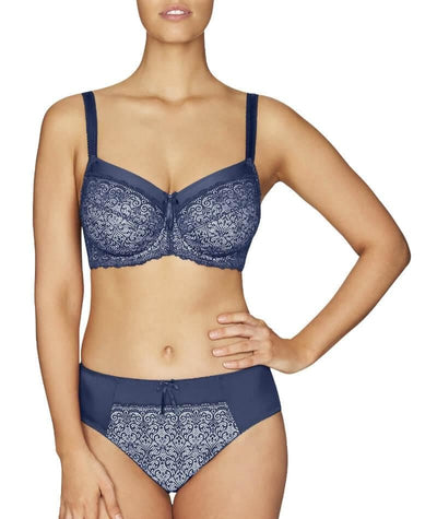 Fayreform Delicate Lace High Cut Brief - Medieval Blue/Cream Tan Knickers