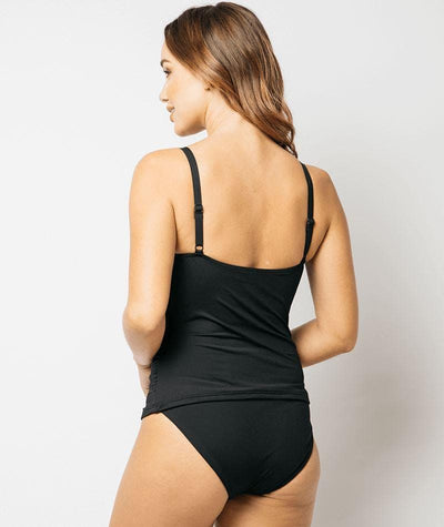 Nip Tuck Cross Front Multifit Tankini Top Plains - Black Swim