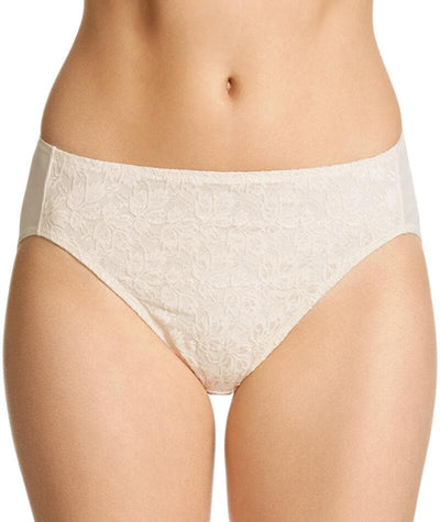 "Jockey No Ride Up Microfibre and Lace Hi Brief - Cream ""Front"""