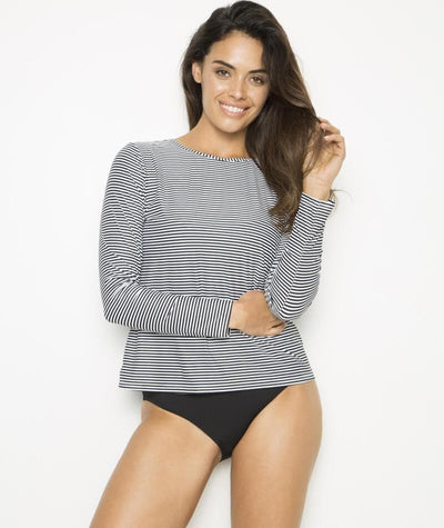 Nip Tuck Long Sleeve Swim Tee - Black/White - Front