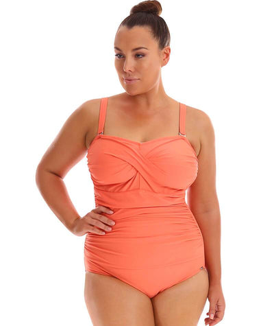 "Capriosca Twist Front Bandeau One Piece - Coral ""Front"""