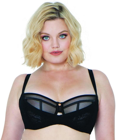 Scantilly Peek-A-Boo Lace Bra - Black - Front