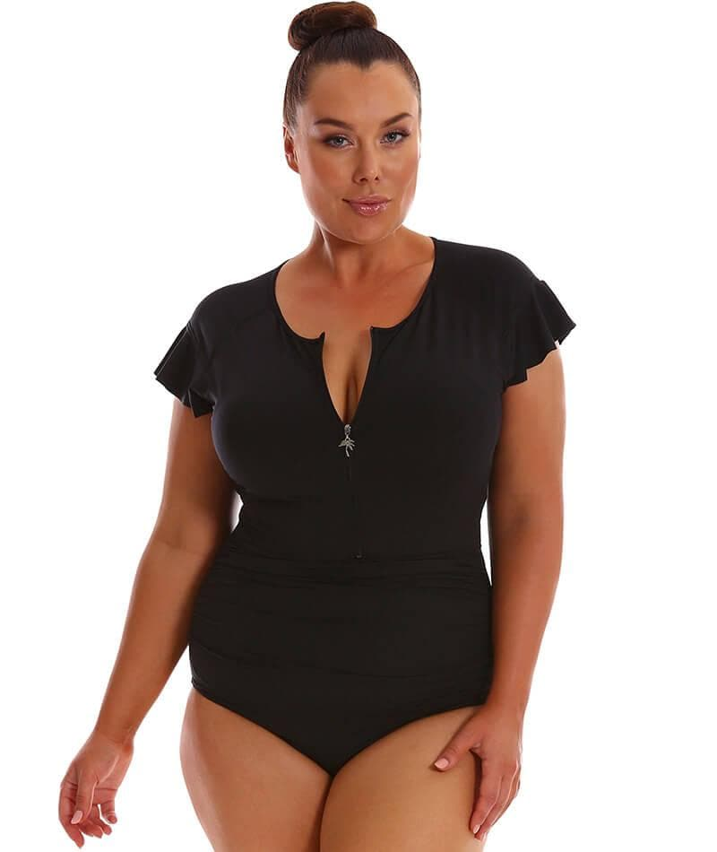 "Capriosca Frill Zip One Piece - Black ""Front"""