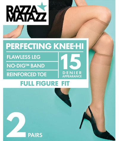 Razzamatazz Full Figure Fit 15D Perfecting Knee Hi 2 Pack - Natural Hosiery 1 Size