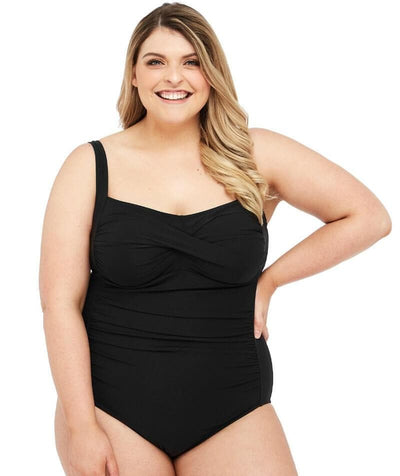 Artesands Botticelli Twist Front Floating Underwire D-DD Cup One Piece Swimsuit - Black Swim 14