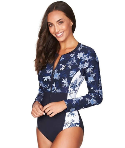 Sea Level Paisley Floral Long Sleeve A-DD Cup One Piece Swimsuit - Navy Swim