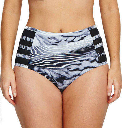 Robyn Lawley Lucia High Waist Brief - Black Sea - Front
