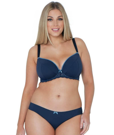 Curvy Kate High Hopes Padded Plunge Bra - Navy - Model - Front - 2
