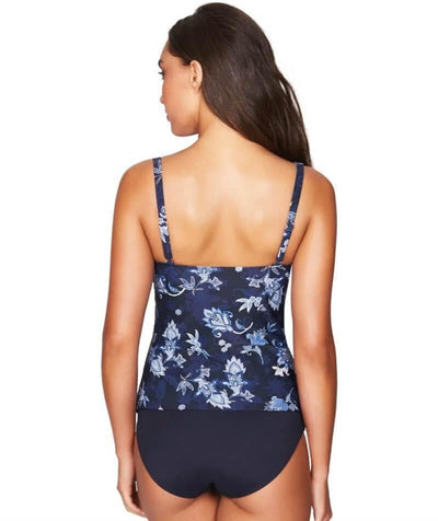Sea Level Paisley Floral Cross Front B-DD Cup Singlet Top - Navy Swim