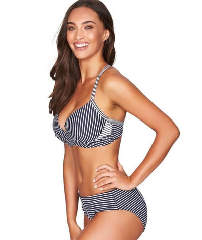 Sea Level Paloma Stripe Cross Front Moulded Underwire B-DD Cup Bikini Top - Navy/White Swim