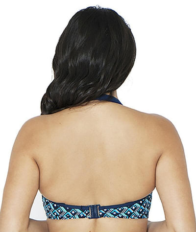 Curvy Kate Wanderlust Plunge Bikini Top - Blue Mix - Back