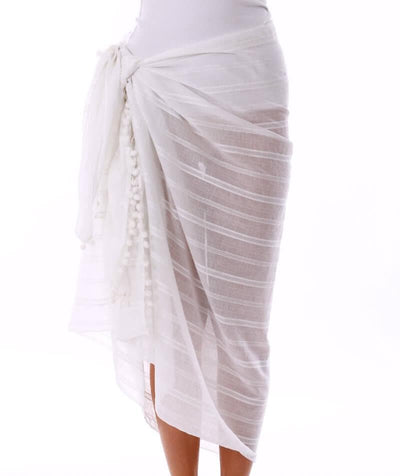 Capriosca Beach Cover Up Sarong - White Swim