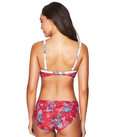 Sea Level Paisley Floral Cross Front Moulded Underwire B-DD Cup Bikini Top - Red Swim