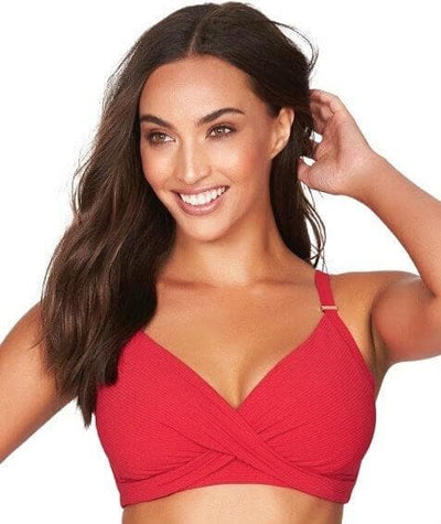 Sea Level Riviera Rib Twist Front DD-E Cup Bikini Top - Red Swim 8