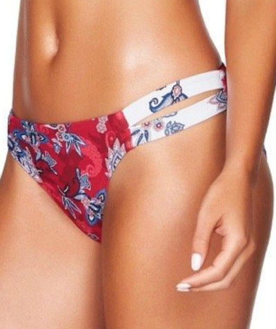 Sea Level Paisley Floral Double Strap Hipster Bikini Brief - Red - Side