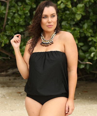 Capriosca Flouncy One Piece - Metallic Black Swim 10