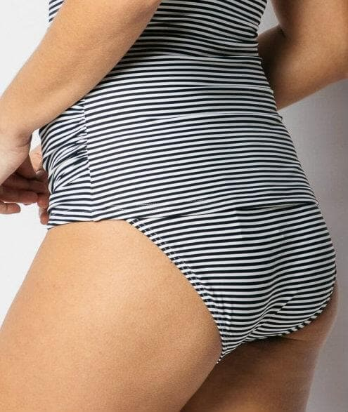 Nip Tuck Sorrento Stripe Mid Bikini Brief - Black / Ivory - Front