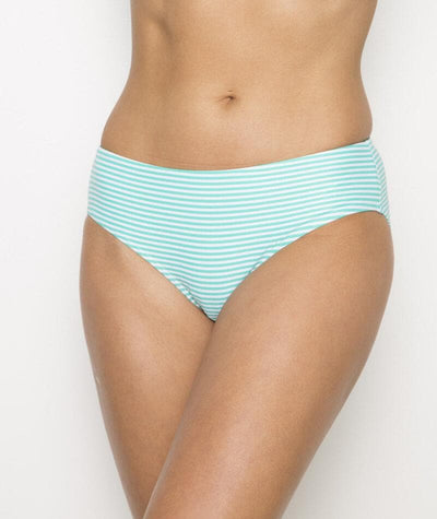 Nip Tuck Sorrento Stripe Bikini Brief - Mint/White - Front