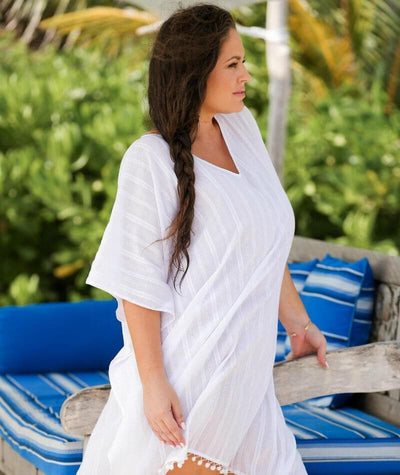 Capriosca Cotton Kaftan - White Swim