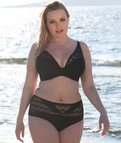 Curvy Kate Hi Voltage Plunge Bikini - Black Swim