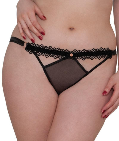 "Scantilly Vamp Thong - Black ""front"""