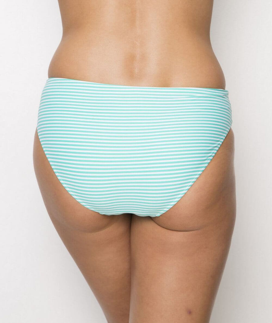 Nip Tuck Ruched Side Sorrento Stripe Bikini Brief - Mint/White - Front
