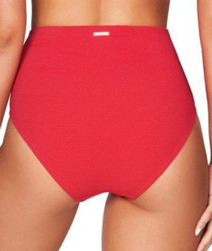 Sea Level Riviera Rib High Waist Brief - Red - Front