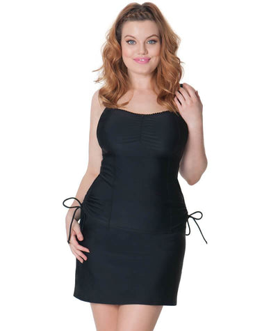 Curvy Kate Jetty Balcony Tankini Top - Black - Front
