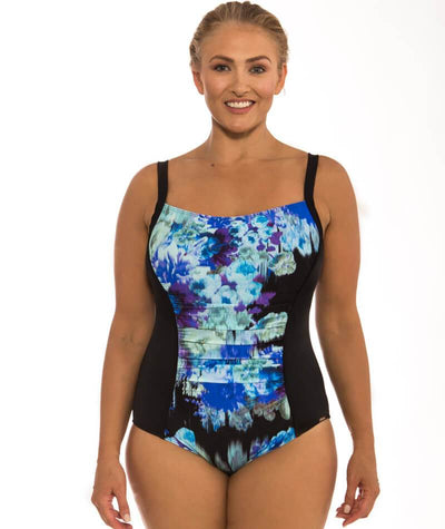 "Capriosca Midnight Floral Panelled One Piece ""front view"""
