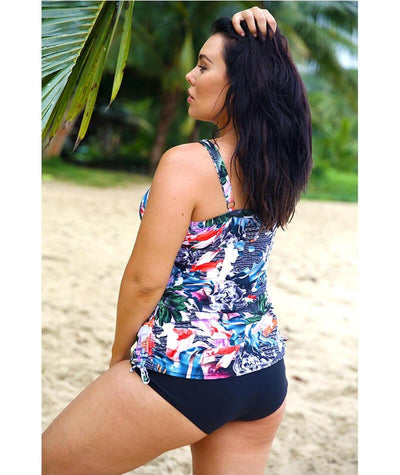 Capriosca Side Rushed One Piece - Graphic Floral