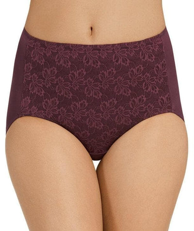 Jockey No Ride Up Microfibre and Lace Full Brief - Blackberry Delight Knickers 10