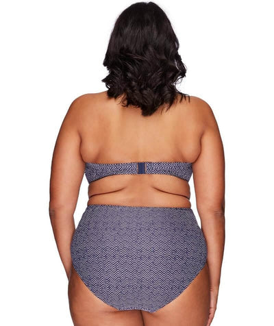 Artesands Rouched Side High Waist Brief - Zig Zag - Model - Back