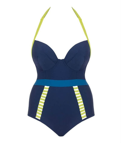 Curvy Kate Maya Halterneck Swimsuit One Piece - Blue Mix - Front