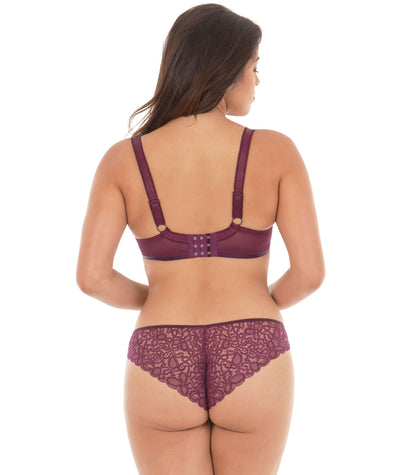 Curvy Kate Smoothie Soul Plunge Bra - Mulberry Print - Model - Back