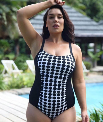 Capriosca Chlorine Resistant Panelled One Piece Swimsuit - Black & White Dots - Front