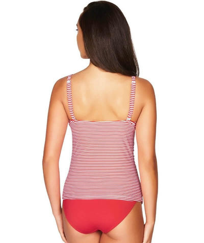 Sea Level Sorrento Stripe Cross Front B-DD Cup Singlet Top - Red - Back