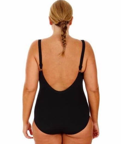 Capriosca Chlorine Resistant Plain One Piece with Bow - Black Swim