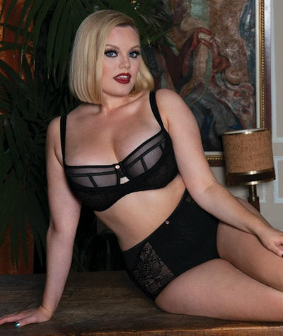 Scantilly Peek-A-Boo Lace Bra - Black - Model - Front - 3