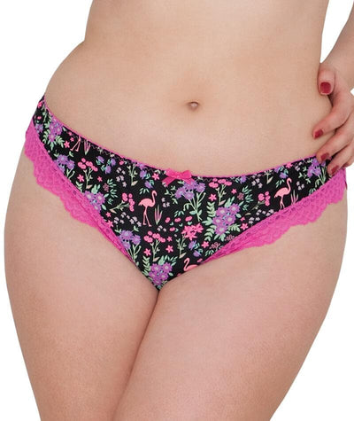 Curvy Kate Vegas Brazilian Brief-Black Print Knickers 10