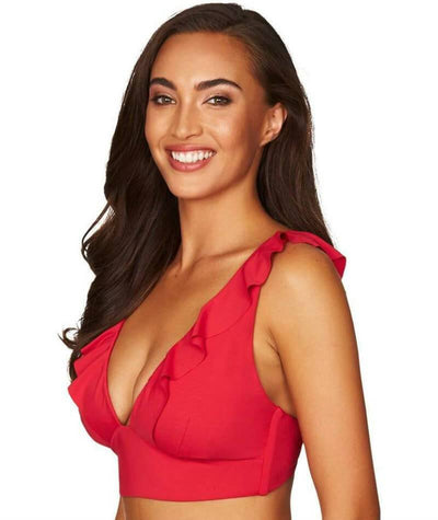 Sea Level Essentials Frill Bikini Top - Red