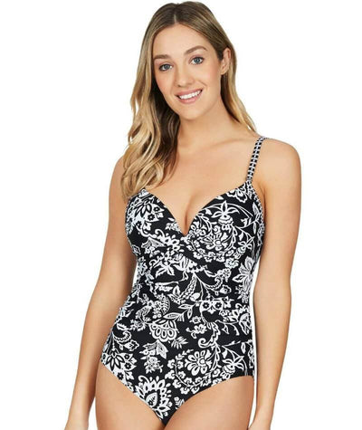 Sea Level Lotus Cross Front Moulded Underwire D-DD Cup One Piece Swimsuit - Black Swim