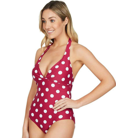 Sea Level Polka Dot Halter B-DD Cup One Piece Swimsuit - Rose