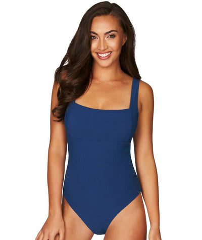 Sea Level Riviera Rib Square Neck A-D Cup One Piece Swimsuit - Ocean Blue Swim