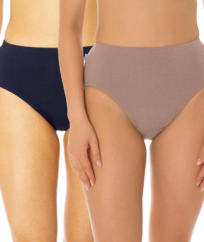 Triumph Sloggi Hikini 2 Pack Midi Brief - Blue/Brown Knickers