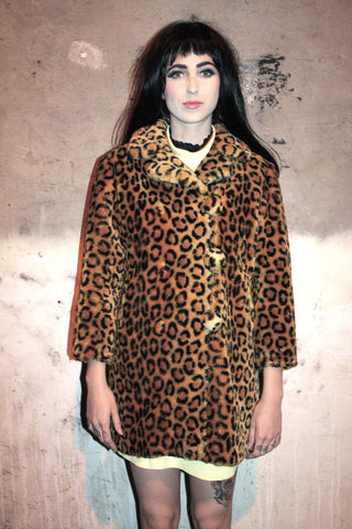 nice to meet you faux fur leopard jacket