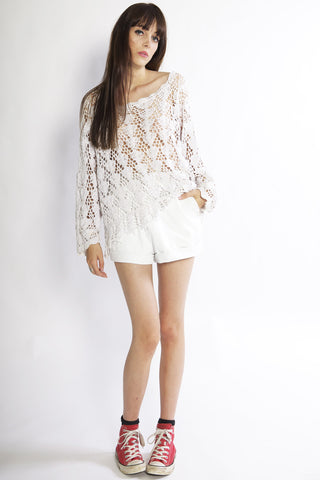 Dictator White Leather Shorts