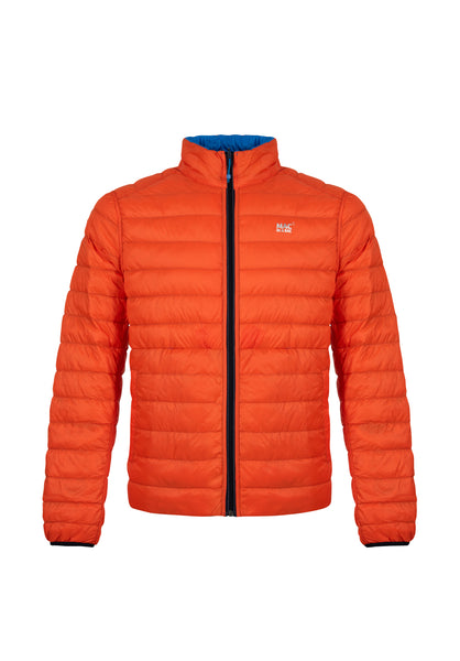 Mens Orange-Aqua Reversible Down Puffer Jacket - Packable